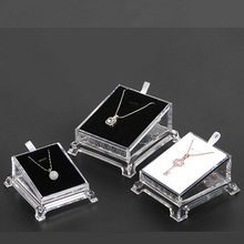 Hot selling fashion Acrylic transparent pendant box Necklaces jewelry display props rings plexiglass jade tray wholesale