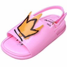 Melissa Kids Shoes Crown and Red Heart Sandals Rain Jelly Shoe Girl Non-slip Sandal Summer Toddler 14-18CM