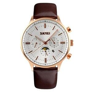 Image 2 - SKMEI Relojes de pulsera para hombre, de cuarzo, de negocios, resistente al agua hasta 30M, informal, de cuero, Masculino, 9117