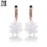 JiaMu fashion Romantic butterfly pendant 585 Rose Gold cubic zirconia jewelry lady condole snow earring Bohemian style for women