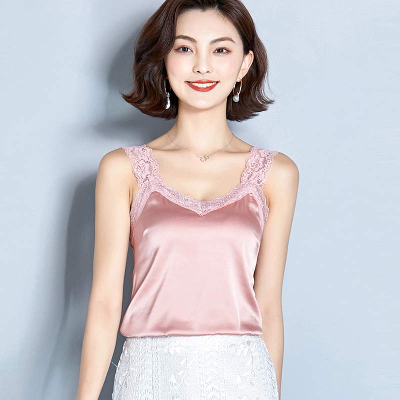 AOSSVIAO Tank-Tops Cropped Satin Summer Sexy Women Short Cami Camisetas-Mujer Casual