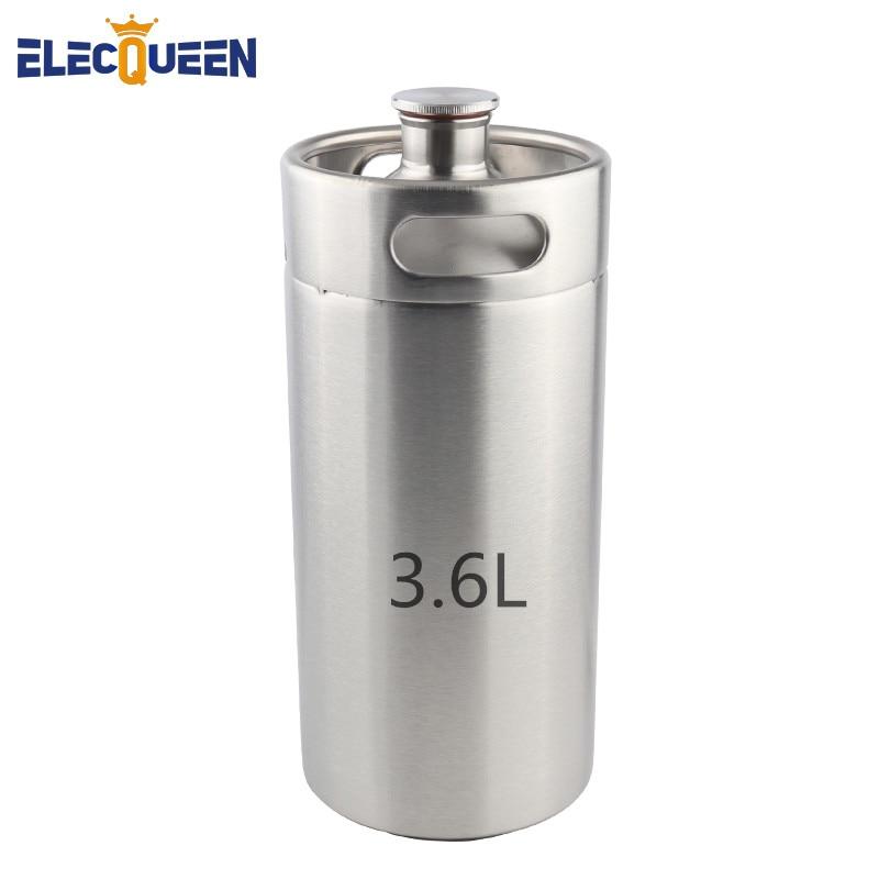 3.6L Stainless Steel Mini Keg Growler Wine Pot, Homebrew Stainless Carbonating Beer Keg Picnic Mini Growler For Bar Tool