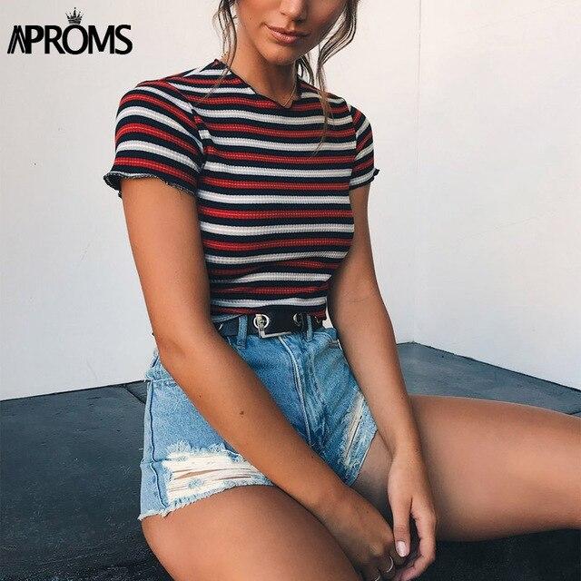 Aproms Многополосная блокированная стрейч-футболка женская летняя укороченная Топ 90 s Базовая футболка повседневная с коротким рукавом ребристая футболка женский топ