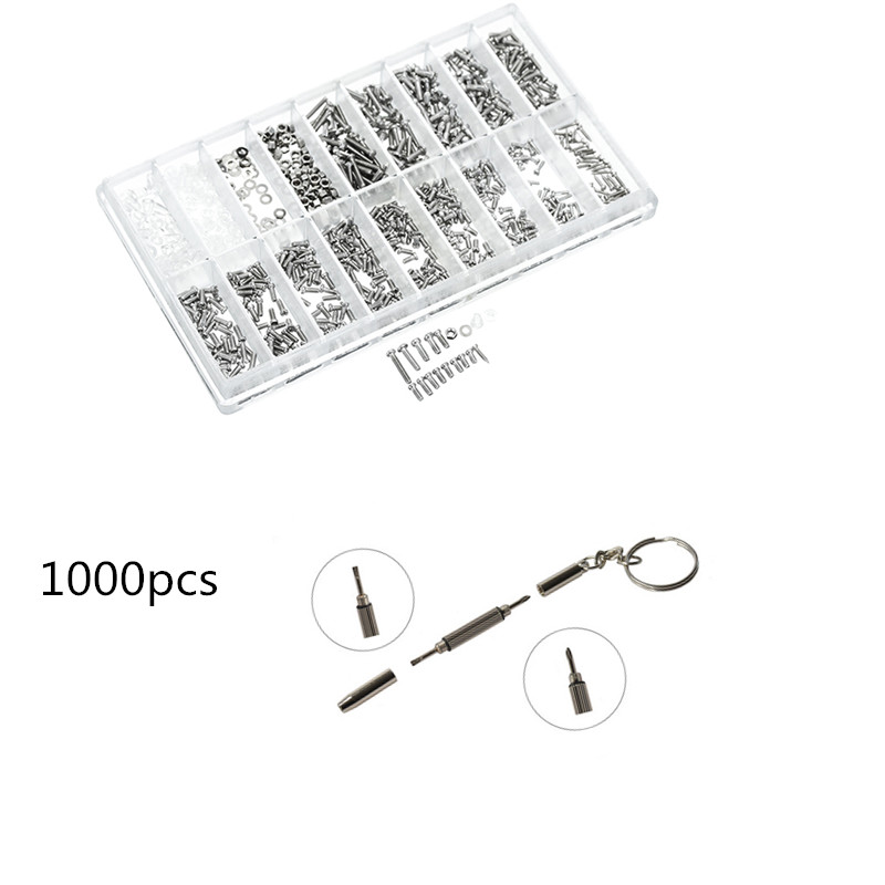 1000Pcs Screws +1pcs Multifunction Screwdriver Set Assortment Tiny Eyeglass Sun Glasses Spectacles Screw Repair Tool Kit 900pcs stainless steel glasses sunglass clock watch spectacles phone set kit screws nuts screwdriver repair tool screw tweezer