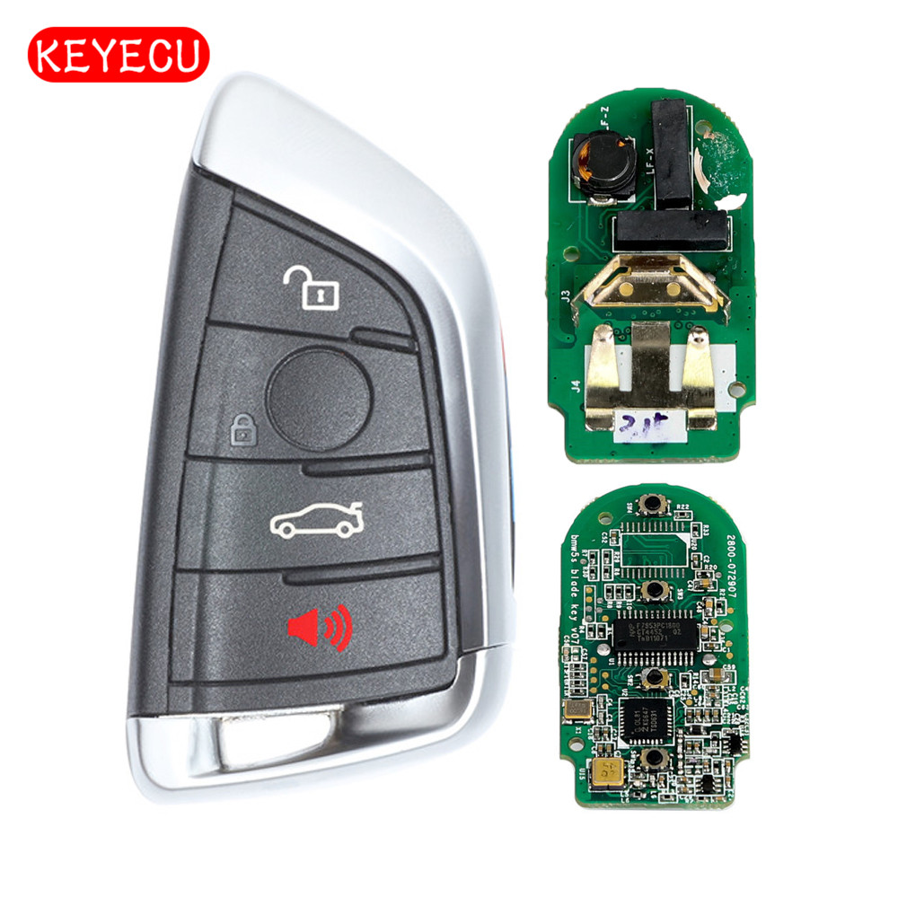 Keyecu CAS4+ Remote Car Key Fob 4 Button 433MHz for BMW 1 2 3 4 5 6 7 Series X1 X3 F Chassis FEM 2011-2017 Black 92213311 92252257 remote flip car key for holden ve commodore 3 button with horn gm46lck chip 434 mhz gm45 key free shipping