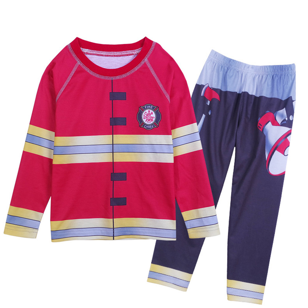 Cosplay red fireman print pajamas set long-sleeved shirt top/trousers children's casual suit pajamas kids boy Halloween costumes