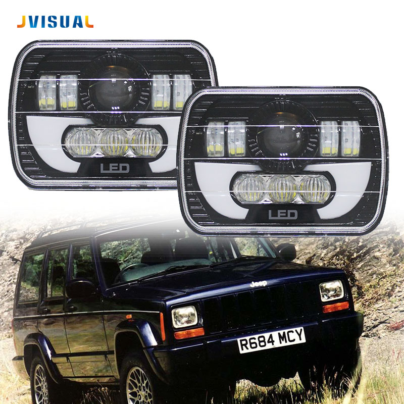 5x7 Inch Car Auto DRL Led headlamp 5x7 7x6 Led Truck Headlight High/Low beam Square Led headlight For Jeep Cherokee XJ Truck jones new york new black women s size xs velvet v neck flare sheath dress $99