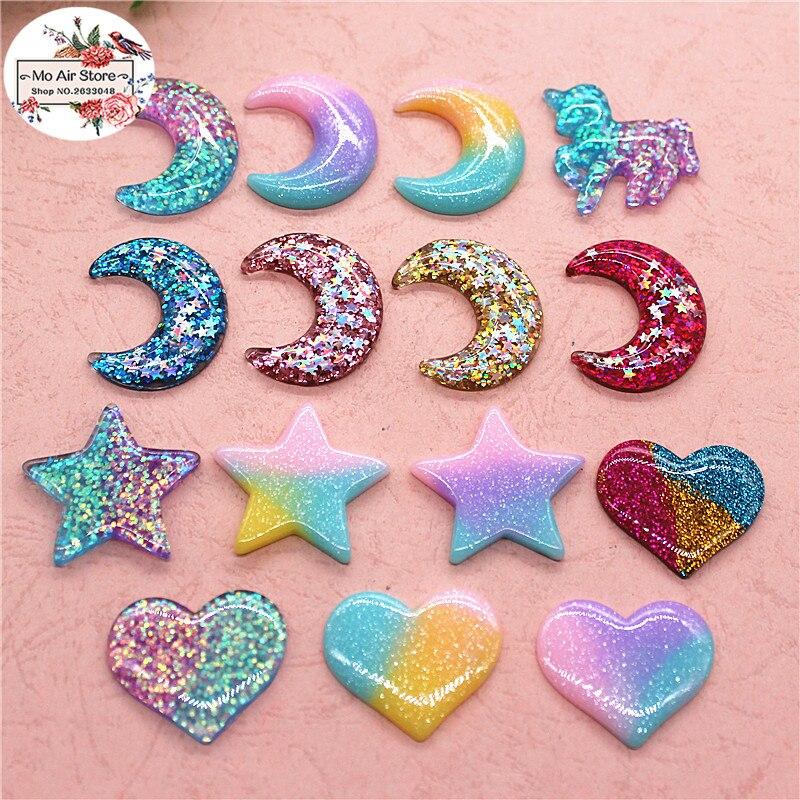 Cabochon en résine brillante, en résine brillante, 10 pièces/20 pièces, étoile, licorne, cœur, croissant, fournitures dart, charme pour décoration artisanale