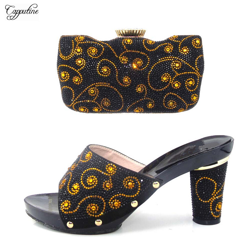 Горячая распродажа черные сандалии обувь и вечерние сумки набор для вечерние tys17-32, высота каблука 9 см