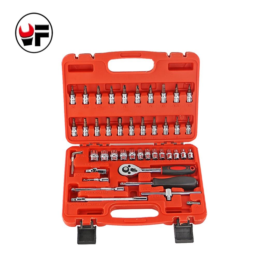 YOFE 46pc High Quality Socket Set Car Repair Tool Ratchet Set Torque Wrench Combination Bit a set of keys Chrome Vanadium стоимость