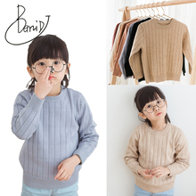 BEMIDJ Girls and Boys Sweaters 2018 Hot sale Autumn Winter Kids Solid  Knitted Sweaters and Pullover Casual Kids clothes Tops boys and girls cartoon sweaters 2017 autumn winter new children knitting clothes baby casual cotton knit wear pullover tops 3 8y