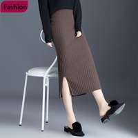 Solid Knitted Ribbed Long Women's Pencil Skirt High Waist Warm Split Fashion Female Maxi Skirts Autumn Winter Woman Clothes 2019