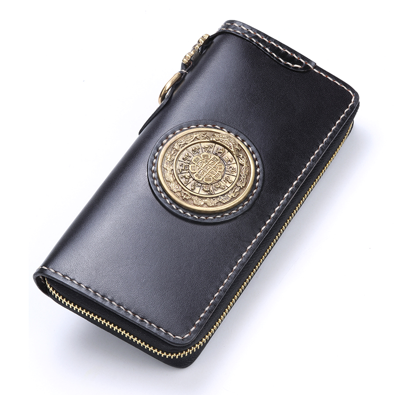 Black Cow Leather Wallets Nine Palace Cards Pure Copper Purses Women Men Long Clutch Vegetable Tanned Leather Wallet Card Holder