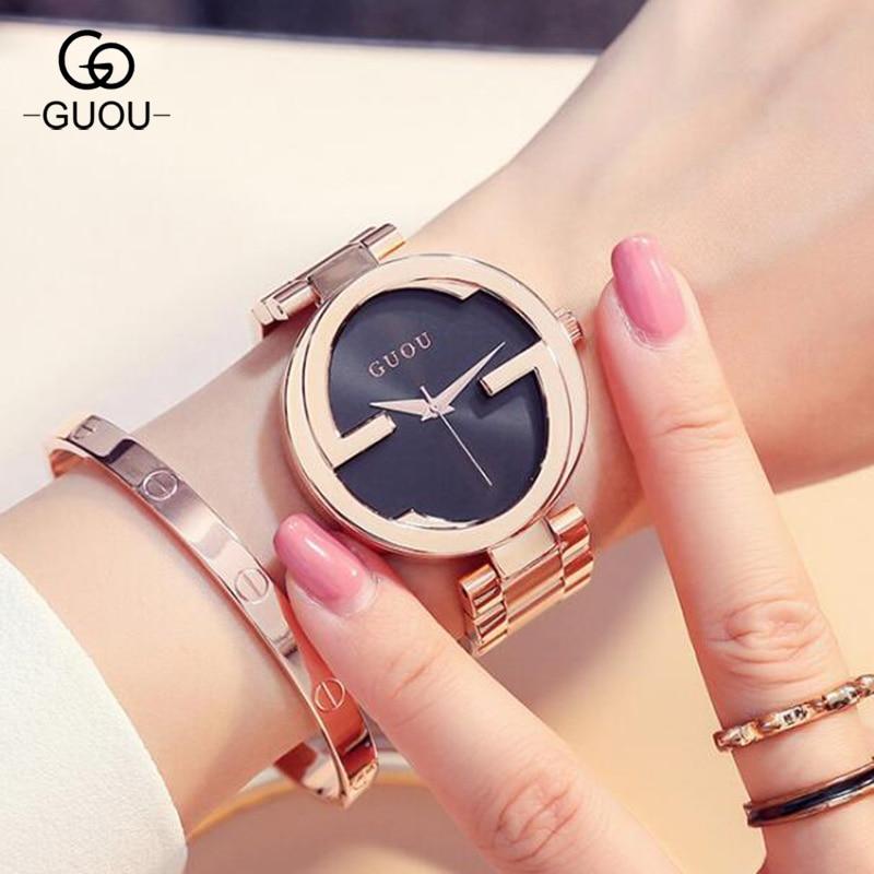 GUOU Brand New Fashion Unique Women's Quartz Watch Relogio Feminino Women Luxury Wristwatch Ladies Dress Hours Clock Reloj Mujer