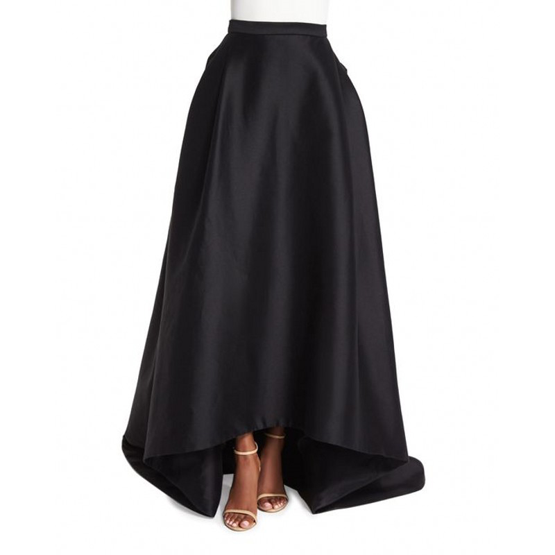 New Arrival Autumn Winter Black Skirt Custom Made Zipper Waistline Floor Length Long Maxi Skirt Asymmetrical High Low Skirts