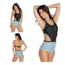 Plus Size S XXL One Piece Women Bikini High Waist Sexy Female Swimsuit Halter Neck Swimwear
