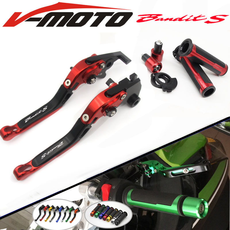 New Combo CNC handle sets+Foldable Adjustable Brake Clutch Lever  For SUZUKI GSF 1250F BANDIT GSF 1200 GSX 1400 GSF1200 GSF1250F nitro triple chrome plated abs mirror 4 door handle cover combo