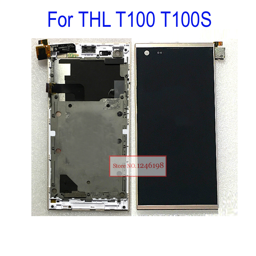 LCD Display Touch Screen Glass Sensor Full Assembly With Frame For THL T100 T100S Mobile Phone Parts Front Screen Replacement