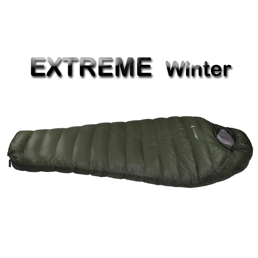 Зимний Спальный Мешок Холодной Температура спальный мешок для зимы, армейский зеленый утка вниз заполнения 1 кг 1,5 кг вниз спальный мешок