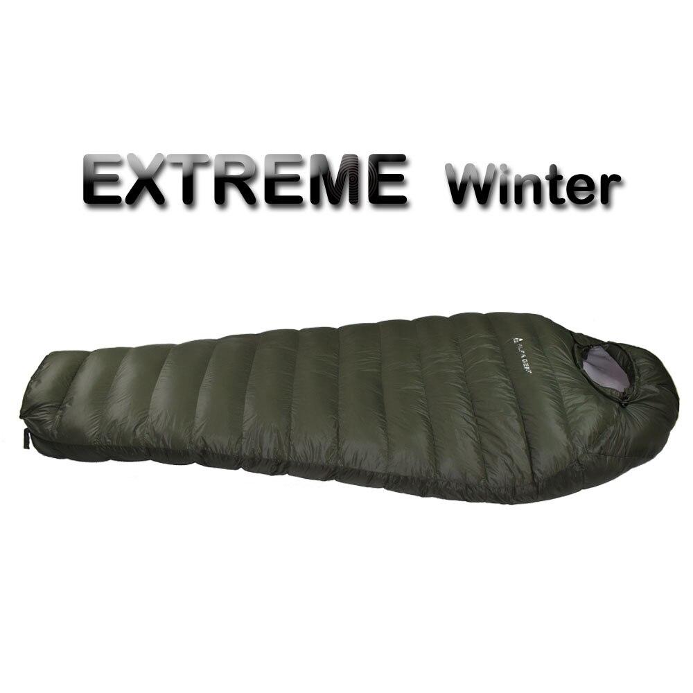 Temperatura de inverno Saco de Dormir Frio Saco de Dormir para o Inverno, verde do exército 1 kg 1.5 kg de Enchimento de Pato Para Baixo para baixo Saco de Dormir