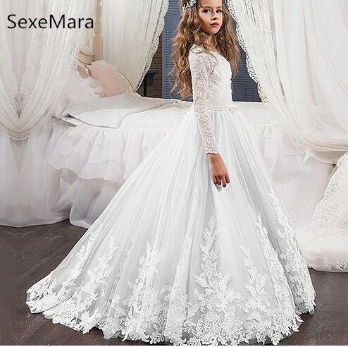 New   Flower     Girl     Dress   Long Sleeves Applique Lace A Line Long   Girls   Birthday Party   Dress   Pageant   Dress   for Little   Girls   Any Size