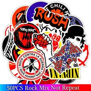 Image 1 - 50PCS Pack Rock Aufkleber Set Heavy Metall Band Aufkleber Für Gepäck Skateboard Laptop Gitarre Kühlschrank Fahrrad Punk Aufkleber