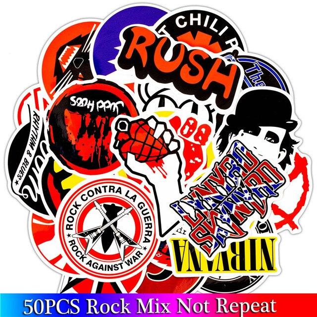 50PCS Pack Rock Aufkleber Set Heavy Metall Band Aufkleber Für Gepäck Skateboard Laptop Gitarre Kühlschrank Fahrrad Punk Aufkleber