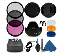 3 Pop Up Diffuser 58MM Filter CPL UV Set Lens Hood Cap Cleaning Kit For Canon