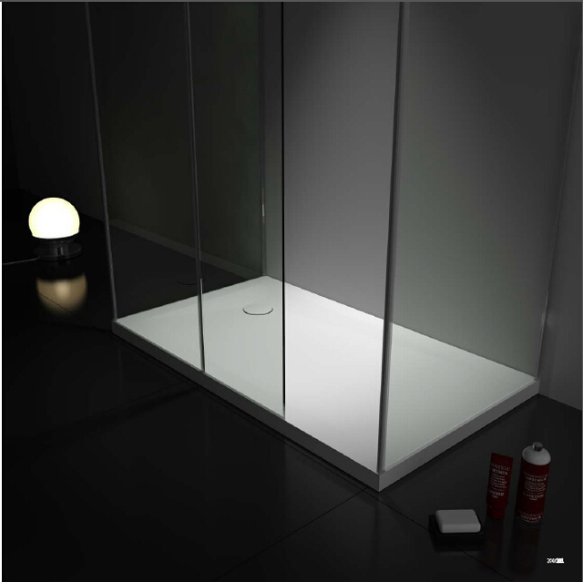 Gentil Solid Surface Stone Rectangular Shower Tray Ultra Thin Artificial Stone  Glass Cabin Shower Pan 1200X800X50mm