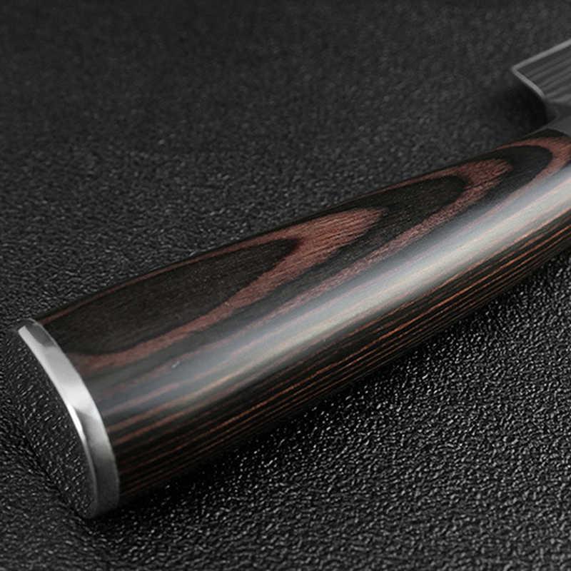 8 ''นิ้วมีดเชฟญี่ปุ่นสแตนเลสขัดรูปแบบเลเซอร์มีด Cleaver Professional Sharp มีดเครื่องมือทำอาหาร