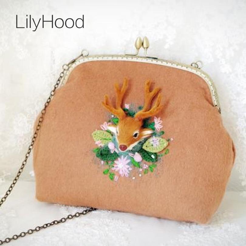LilyHood Handmade Wool Deer Crochet Straw Shoulder Bag Female Christmas Gift Retro Cute Shabby Chic Inspired Kiss Lock Handbag