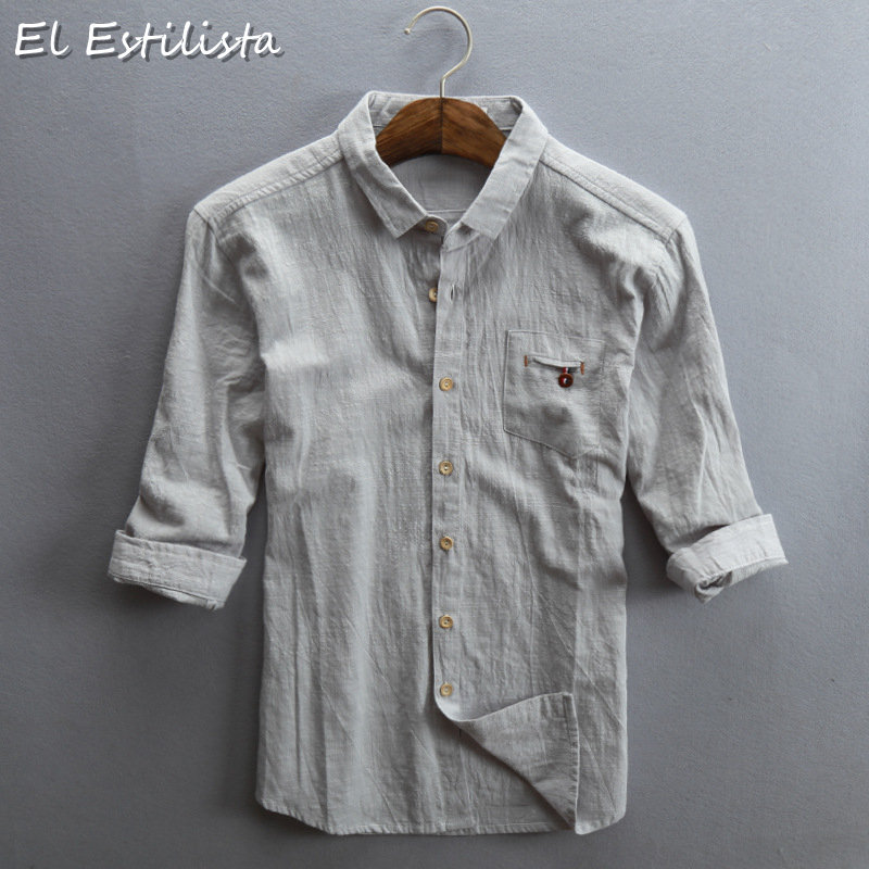 280c8923b5f35 Casual Mens Half Sleeve Linen Shirts Loose Thin Slim Fit Summer Soft  Clothes Turn-down