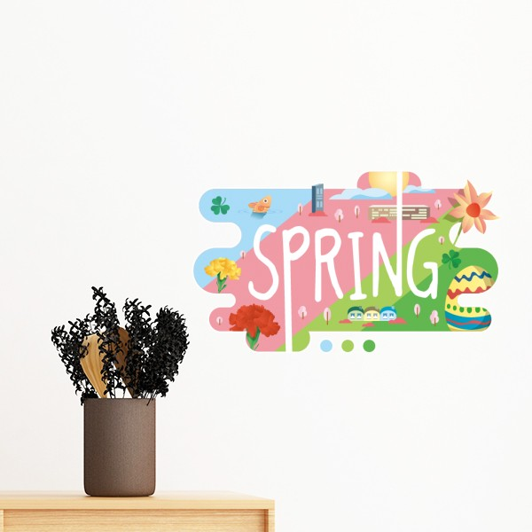 April August Month Autumn Spring Summer Season Winter Illustration Removable Wall Sticker Art Decals Mural DIY Wallpaper Room In Stickers From Home