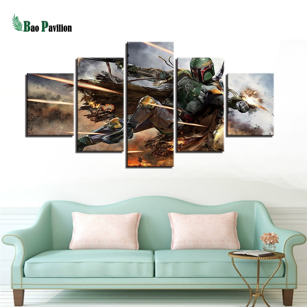 Home Decor Artwork Paintings On Canvas 5 Panel Movie Star Wars Framework Pictures Vintage Posters And Prints On The Wall in Painting Calligraphy from Home Garden