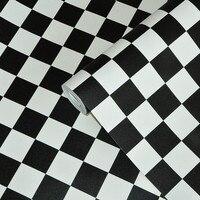 Black White Lattice PVC Waterproof Vinyl Wallpaper For Kitchen Bathroom Living Room Background Wall Decor Modern Geometric Paper