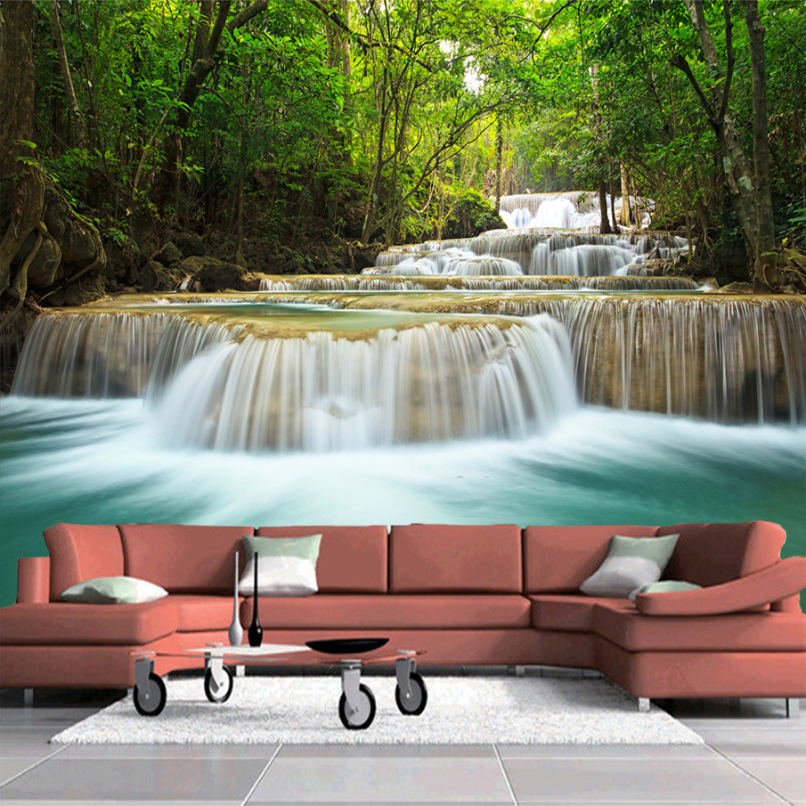 online get cheap country wall murals aliexpress com alibaba group custom size hd forest waterfall landscape living room sofa tv background wall mural paintings wallpaper papel