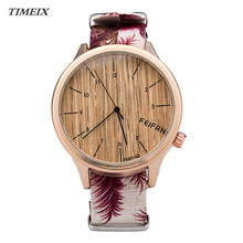 New Fashion Women's Watch New Design Casual Wood Pattern Canvas Strap Quartz Watch Female Dress Clock Free Shipping