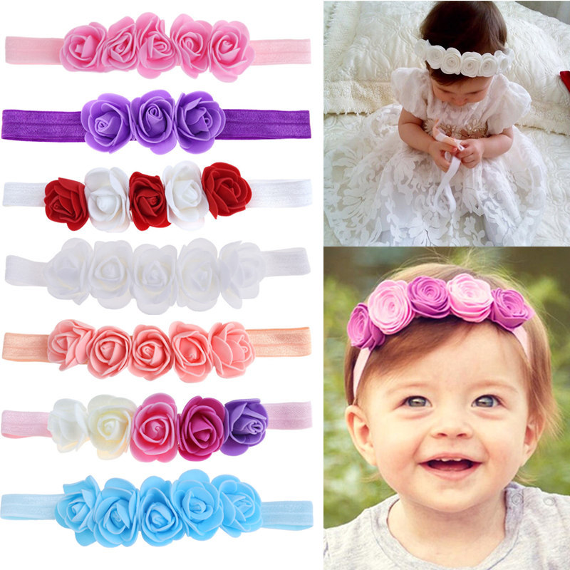 Rose Ribbon Hair Bands Handmade DIY Headwear Photo Prop 3D Flower Hairband Kids Child Newborn Baby Girl Headband Satin Accessory retail triple satin flower rosettes feather baby headband vintage burlap lace hairband kidocheese
