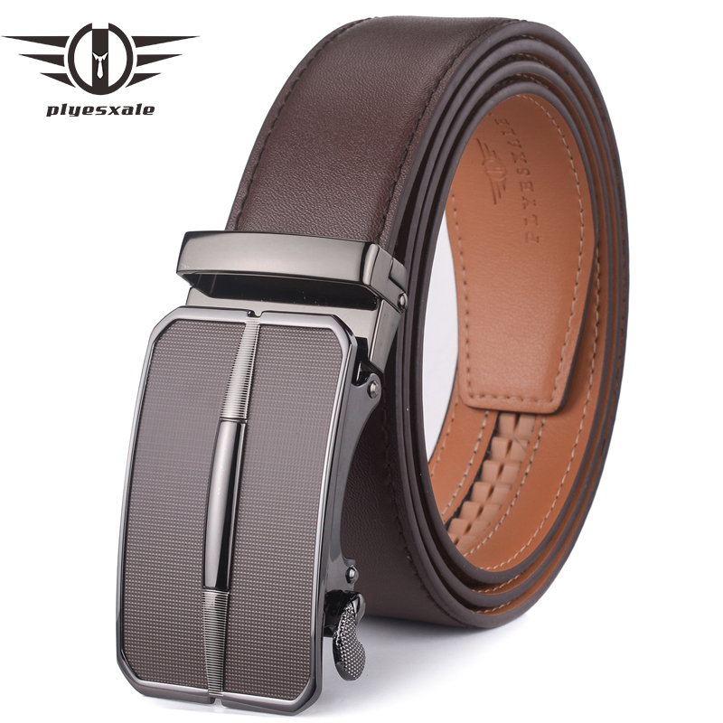 Plyesxale Men Leather   Belt   2018 Automatic Buckle Mens   Belt   For Jeans Fashion Brand Brown Mens   Belts   Luxury Genuine Leather G43