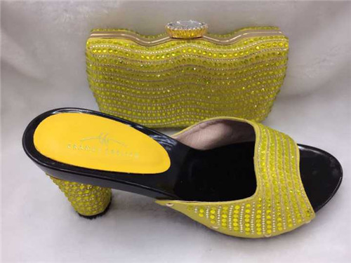 ФОТО Italian shoe with matching bag set for wedding matching shoe and bag Italy top sale ladies matching shoe and bag TH31 Yellow