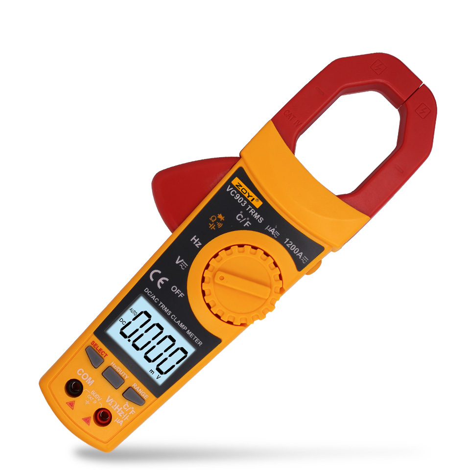 VC903 6000 Counts true RMS AC/DC digital clamp meter auto range ac dc voltage current resistance capacitance duty cycle 1%~99% 4 8 days arrival df4 trms 4 1 2 true rms ac voltage meter ac200v ac110 220v power supply