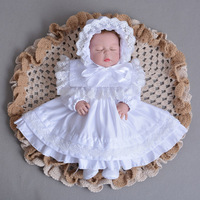 Baby Girl Dress Toddler Girl White Ivory Long Sleeve Christening Gown 1 Year Birthday Party Dress Autumn Baptism Dress
