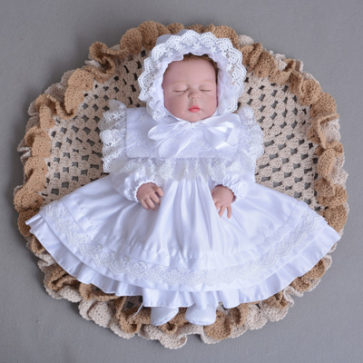 Hats and Baby Girl Dress Toddler Girl White Ivory Long Sleeve Christening Gown 1 Year Birthday Dress Newborn Lace Party Dress