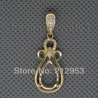 Vintage Pear 8x12mm Solid 14Kt Yellow Diamond Semi Mount Pendant,585 Natural Gold Pendant For Sale WP010