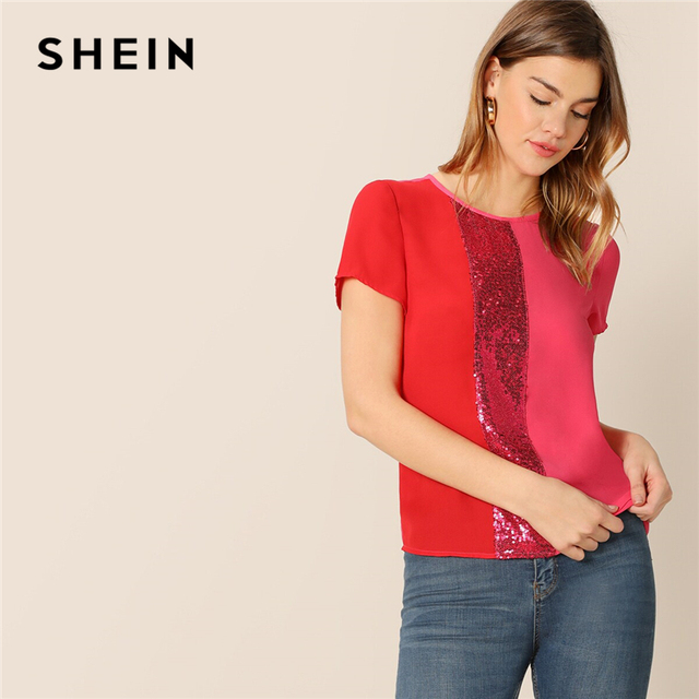 SHEIN Sequins Contrast Panel Spliced Cut-And-Sew Top Womens Tops and Blouses 2019 Casual Colorblock Short Sleeve Summer Blouses
