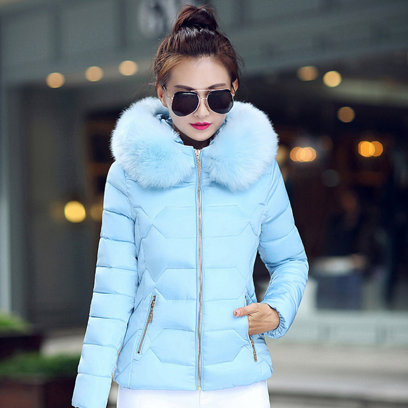 Winter Short Women Jacket Coat Cotton Warm Fur Hooded Parkas Women Outwear Zip Casual Fashion Black Warm Female Coats WT4583 13