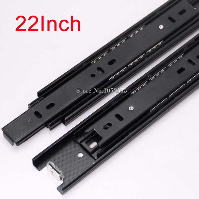 Hot 1 paire 3-pli tiroir coureurs glissières Rail pleine Extension 550mm/22 ''télescopique en métal roulement à billes meubles matériel K178/8