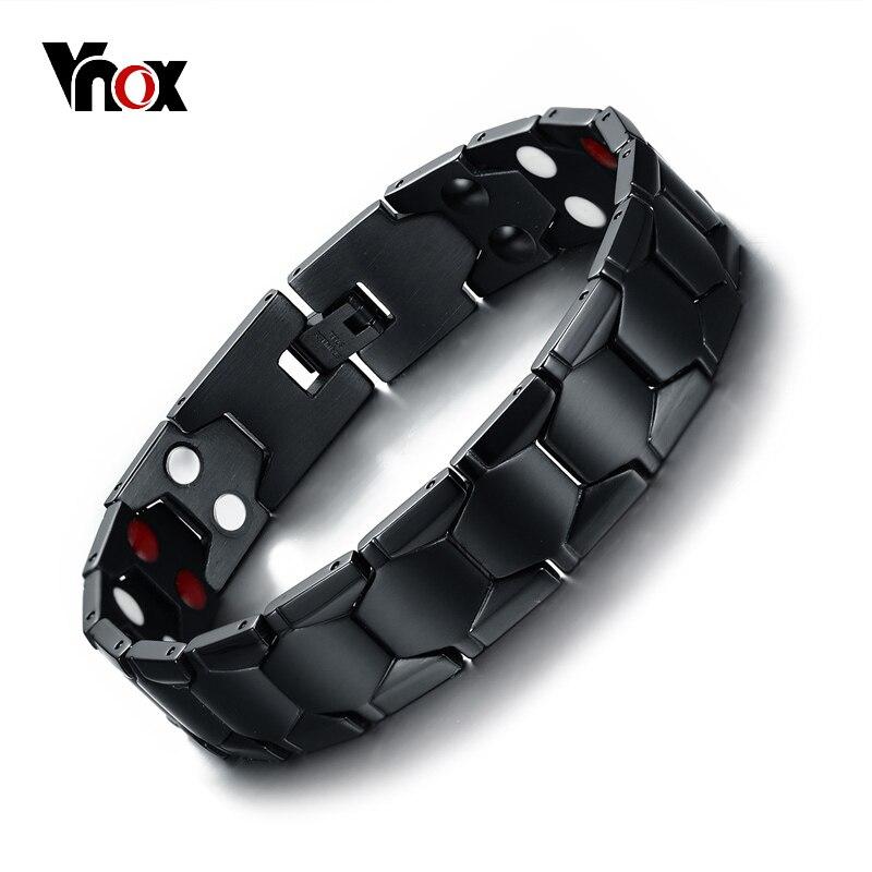 Vnox Magnetic Therapy Bracelet Men Jewelry Black Power Stainless Steel Bracelets & Bangles Health Care Jewelry Free Box vnox diy adjustable black men s stainless steel long bracelets