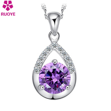 High Quality Luxury Zirconia Diamond Necklace Pendant Women Jewelry Purple White Crystal Silver Plate Charm Party Jewelry