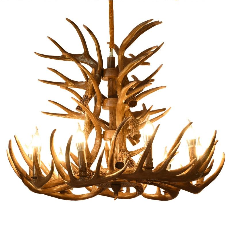 Industrial LOFT Vintage Pendant Lights Brown White Resin Antler Deer E14 LED Living Room Hanging Lamp For Bedroom Bar Decor